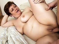 Chubby granny gets a cock in her ass..