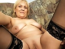 Old grandma takes a pussy pounding on the couch..