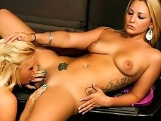 Slutty lesbians having fun in the public garage..